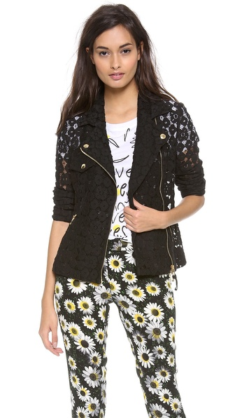 Moschino Cheap And Chic Lace Moto Jacket - Black at Shopbop / East Dane