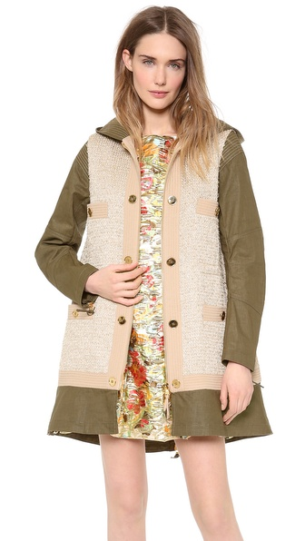 Moschino Tweed Mix Coat - Gold at Shopbop