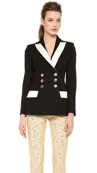Moschino Blazer With Gold Buttons - Black at Shopbop
