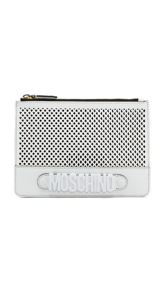 Moschino Moschino Perforated Pouch - White/Black at Shopbop / East Dane