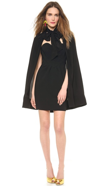 Moschino Heart Dress With Tie Neck Cape - Black at Shopbop / East Dane