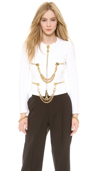 Moschino Zip Front Chain Jacket - White at Shopbop / East Dane