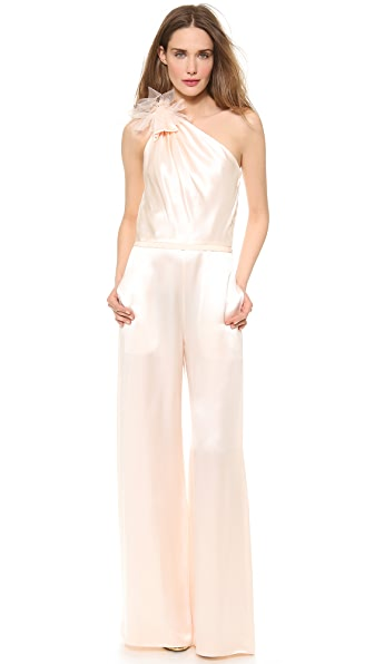 Moschino Shiny Satin Asymmetrical Jumpsuit
