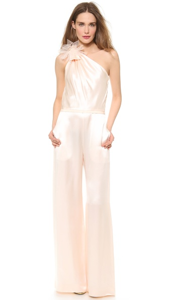Moschino Shiny Satin Asymmetrical Jumpsuit - Pink at Shopbop / East Dane