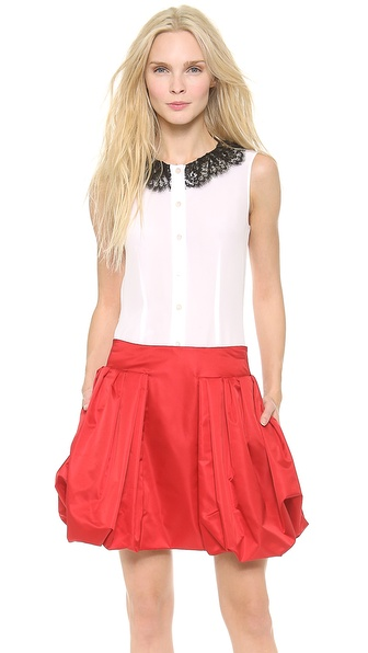 Moschino Lace & Faux Pearl Collar Blouse - White at Shopbop / East Dane