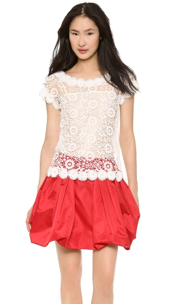 Moschino Flower Lace Blouse - White at Shopbop / East Dane