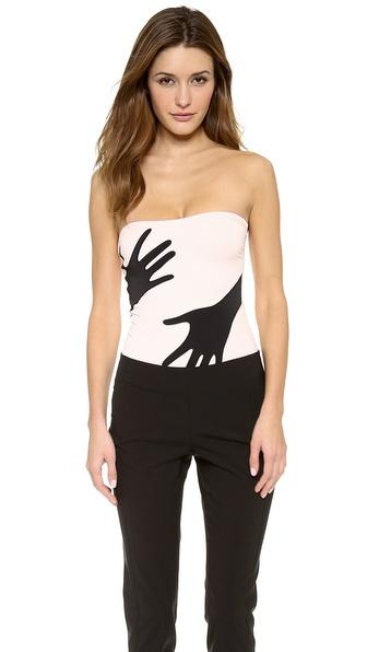 Moschino Strapless Hand Print Bodysuit
