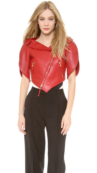 Moschino Leather Heart Shaped Jacket - Red at Shopbop / East Dane