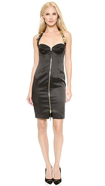 Moschino Moschino Cady Zip Dress With Logo (Black)