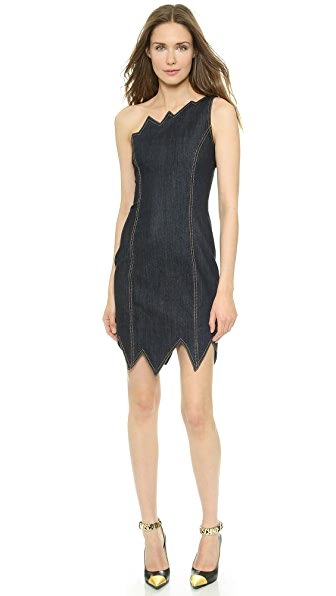 Moschino Moschino Cheap And Chic One Shoulder Denim Dress (Blue)