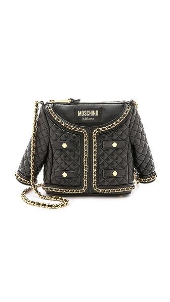 Moschino Leather Shoulder Bag - Black