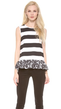 Mother of Pearl Stripe Peplum Top