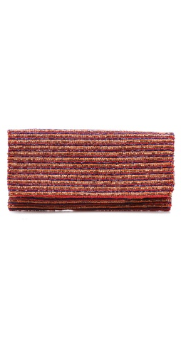 MOYNA Narrow Horizontal Stripes Fold Over Clutch