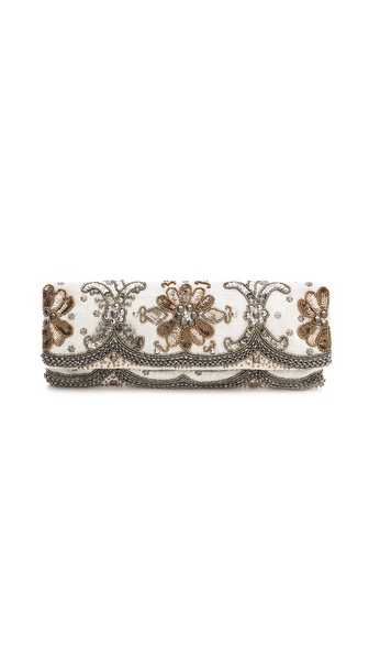 MOYNA Elongated Metal Beads Clutch