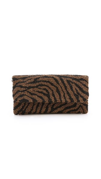MOYNA Beaded Zebra Clutch