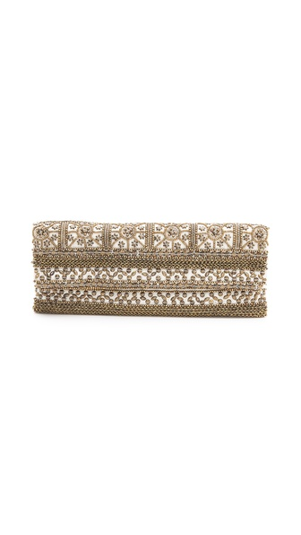 MOYNA Fold Over Beaded Clutch