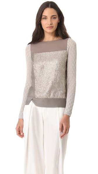 M. PATMOS Textured Silk Top