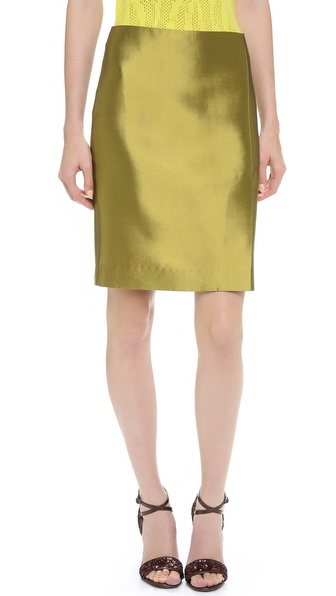 M. PATMOS Satin Twill Pencil Skirt