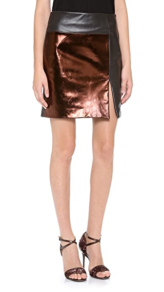 M.PATMOS Mixed Leather Skirt