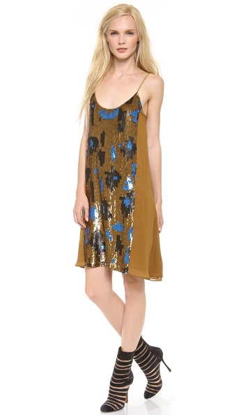 M. PATMOS Camo Sequin Slip Dress