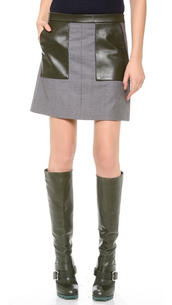 M. PATMOS Leather Trimmed Miniskirt