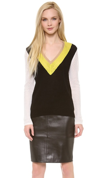 M. PATMOS Mesh Colorblock Sweater