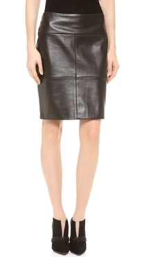M. PATMOS Seamed Leather Skirt