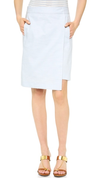 M. PATMOS Chambray Wrap Skirt