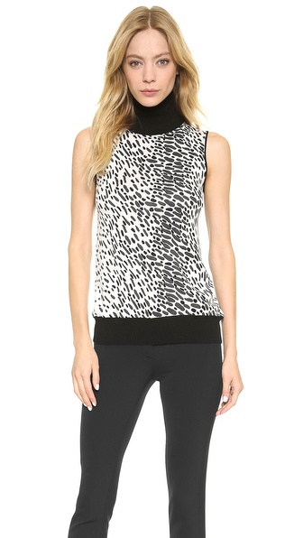 M.PATMOS Print Sleeveless Turtleneck Top