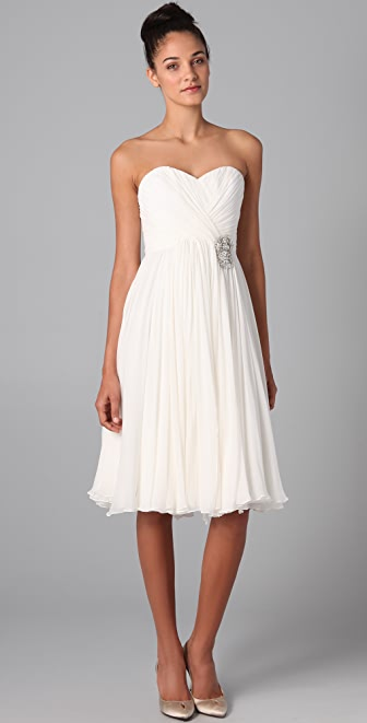 Marchesa Draped Strapless Dress with Full Skirt