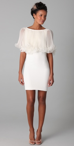 Marchesa Bateau Dress with Pleated Cape