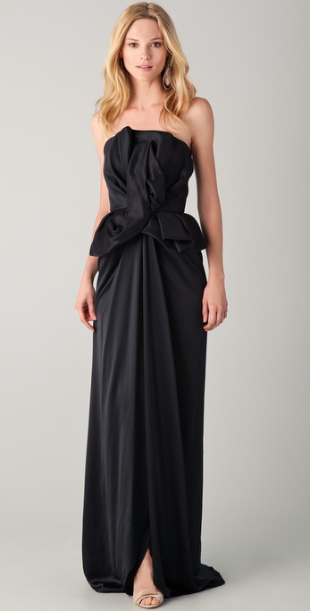 Marchesa Column Gown with Sculpted Bodice