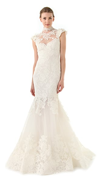Marchesa Lace Gown with Illusion Neckline