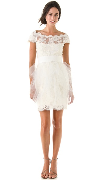 Marchesa Lace Dress with Tulle