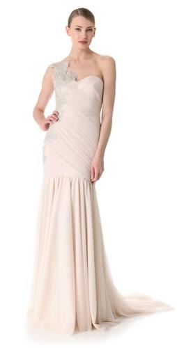 Marchesa One Shoulder Column Gown