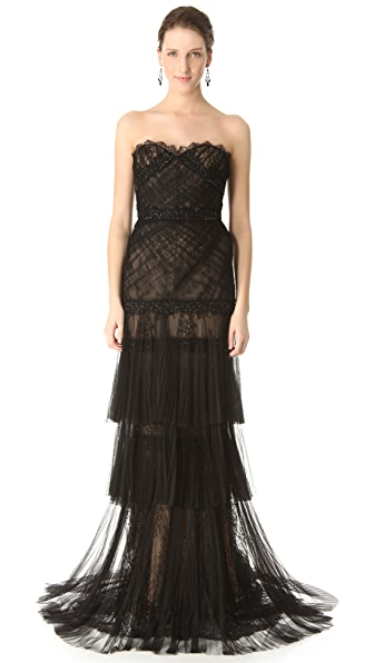 Marchesa Pleated Mesh Lace Gown