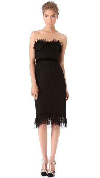 Marchesa Chantilly Lace Corset Dress
