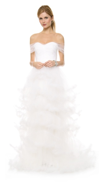 Marchesa Off Shoulder Tulle Ball Gown