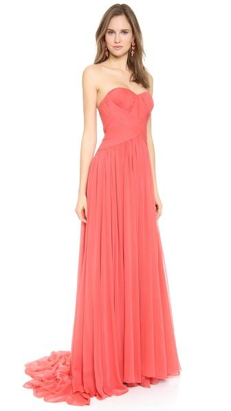 Marchesa Strapless Silk Chiffon Gown