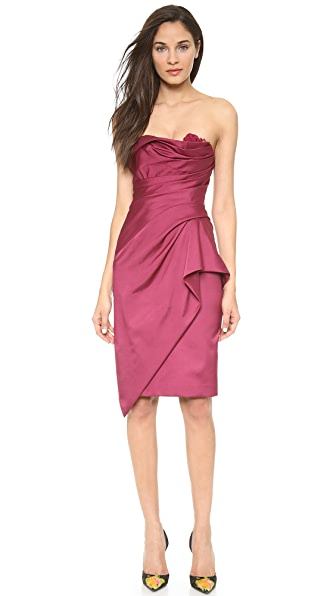 Marchesa Strapless Hand Draped Dress