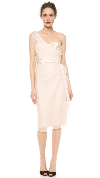 Marchesa One Shoulder Draped Dress
