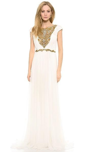 Marchesa Silk Chiffon Grecian Gown