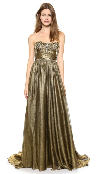 Marchesa Full Foil Chiffon Gown
