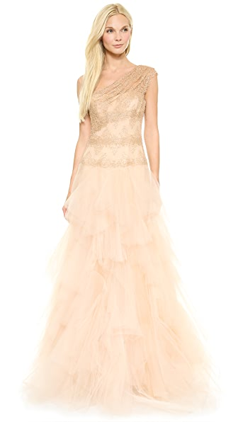 Marchesa One Shoulder Ball Gown