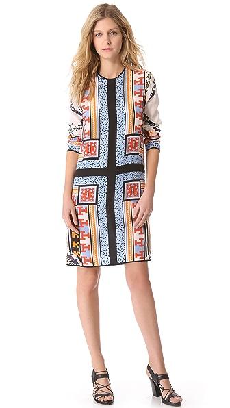 MSGM Patchwork Long Sleeve Dress