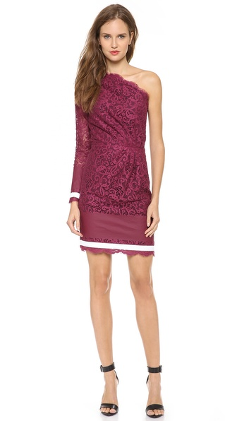 MSGM One Shoulder Lace Dress