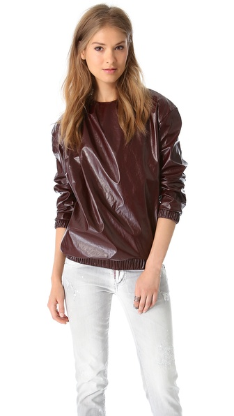 MSGM Faux Leather Sweatshirt