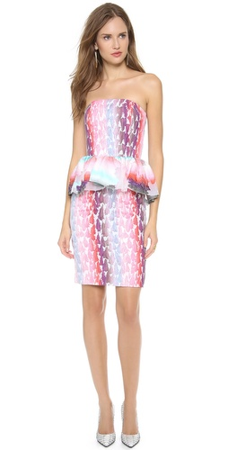 MSGM Peplum Strapless Dress