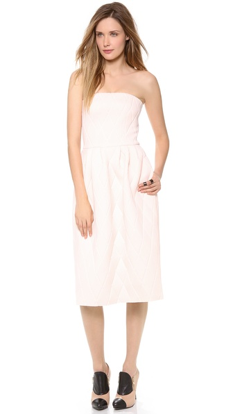 MSGM Quilted Strapless Dress