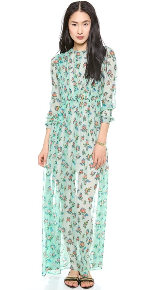 MSGM Long Sleeve Roses Gown